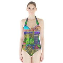 New York City Skyline Halter Swimsuit