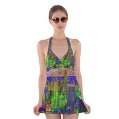 New York City Skyline Halter Swimsuit Dress