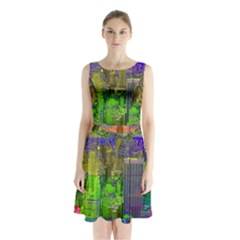 New York City Skyline Sleeveless Chiffon Waist Tie Dress