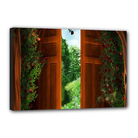 Beautiful World Entry Door Fantasy Canvas 18  X 12