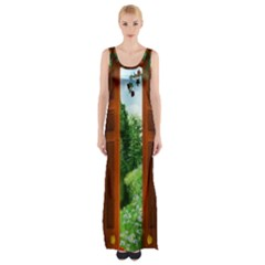 Beautiful World Entry Door Fantasy Maxi Thigh Split Dress