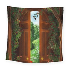 Beautiful World Entry Door Fantasy Square Tapestry (large)