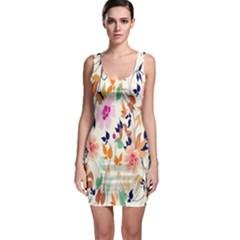 Vector Floral Art Sleeveless Bodycon Dress
