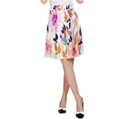 Vector Floral Art A Line Skirt