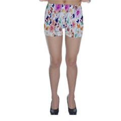 Vector Floral Art Skinny Shorts