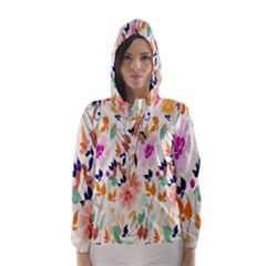Vector Floral Art Hooded Wind Breaker (women)