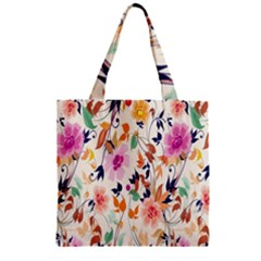 Vector Floral Art Zipper Grocery Tote Bag
