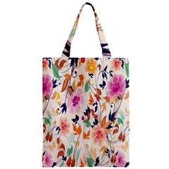 Vector Floral Art Zipper Classic Tote Bag