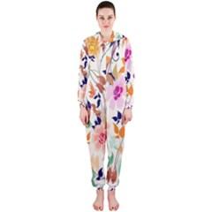 Vector Floral Art Hooded Jumpsuit (ladies)