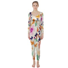 Vector Floral Art Long Sleeve Catsuit