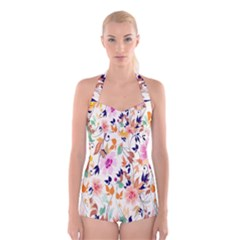 Vector Floral Art Boyleg Halter Swimsuit