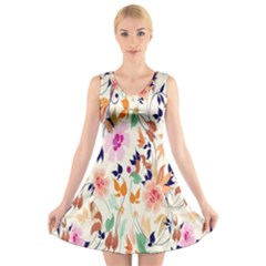 Vector Floral Art V-Neck Sleeveless Skater Dress