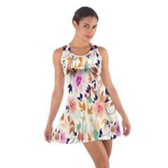 Vector Floral Art Cotton Racerback Dress