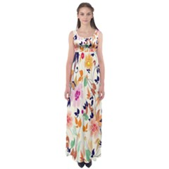 Vector Floral Art Empire Waist Maxi Dress