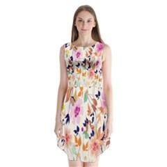 Vector Floral Art Sleeveless Chiffon Dress