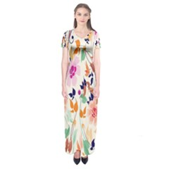 Vector Floral Art Short Sleeve Maxi Dress