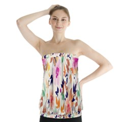 Vector Floral Art Strapless Top