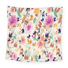 Vector Floral Art Square Tapestry (large)