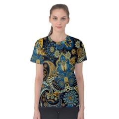 Retro Ethnic Background Pattern Vector Women s Cotton Tee
