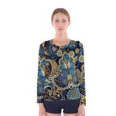 Retro Ethnic Background Pattern Vector Women s Long Sleeve Tee