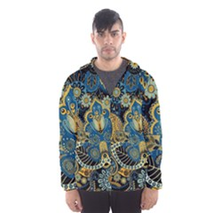 Retro Ethnic Background Pattern Vector Hooded Wind Breaker (Men)