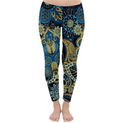 Retro Ethnic Background Pattern Vector Classic Winter Leggings