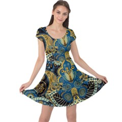 Retro Ethnic Background Pattern Vector Cap Sleeve Dresses