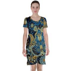 Retro Ethnic Background Pattern Vector Short Sleeve Nightdress