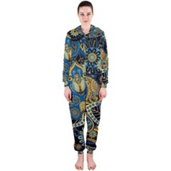 Retro Ethnic Background Pattern Vector Hooded Jumpsuit (ladies)