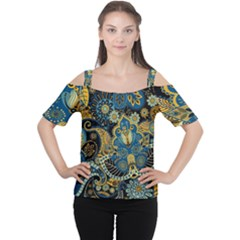 Retro Ethnic Background Pattern Vector Women s Cutout Shoulder Tee