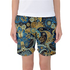 Retro Ethnic Background Pattern Vector Women s Basketball Shorts