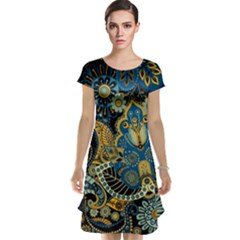 Retro Ethnic Background Pattern Vector Cap Sleeve Nightdress