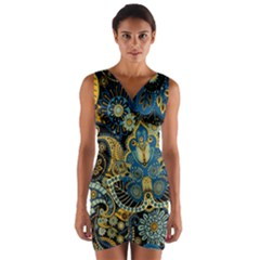 Retro Ethnic Background Pattern Vector Wrap Front Bodycon Dress