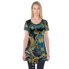 Retro Ethnic Background Pattern Vector Short Sleeve Tunic