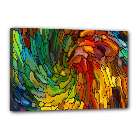 Stained Glass Patterns Colorful Canvas 18  X 12