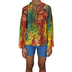 Stained Glass Patterns Colorful Kids  Long Sleeve Swimwear