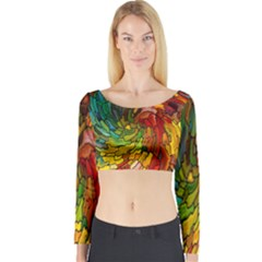 Stained Glass Patterns Colorful Long Sleeve Crop Top