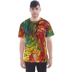 Stained Glass Patterns Colorful Men s Sport Mesh Tee