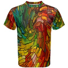 Stained Glass Patterns Colorful Men s Cotton Tee