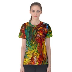 Stained Glass Patterns Colorful Women s Cotton Tee