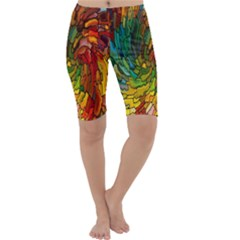 Stained Glass Patterns Colorful Cropped Leggings
