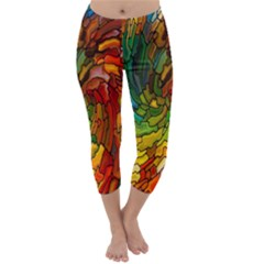 Stained Glass Patterns Colorful Capri Winter Leggings
