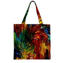 Stained Glass Patterns Colorful Zipper Grocery Tote Bag