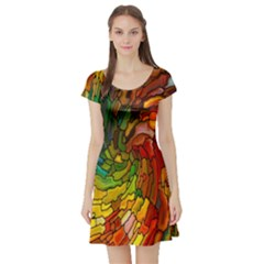 Stained Glass Patterns Colorful Short Sleeve Skater Dress