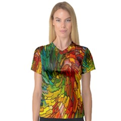 Stained Glass Patterns Colorful Women s V-Neck Sport Mesh Tee