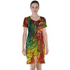 Stained Glass Patterns Colorful Short Sleeve Nightdress