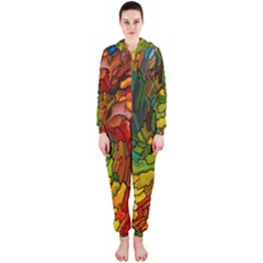 Stained Glass Patterns Colorful Hooded Jumpsuit (ladies)