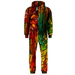 Stained Glass Patterns Colorful Hooded Jumpsuit (men)
