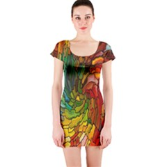 Stained Glass Patterns Colorful Short Sleeve Bodycon Dress