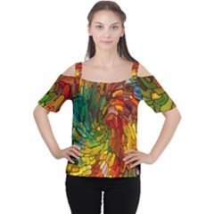 Stained Glass Patterns Colorful Women s Cutout Shoulder Tee